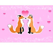 Valentines Day Foxes Photographic Print