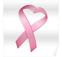 Pink Heart Cancer Ribbon Poster