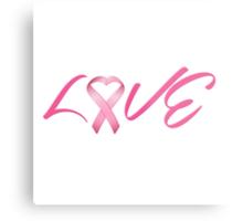 Love Pink Breast Cancer Ribbon Metal Print