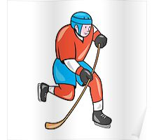 Ice Hockey Player With Stick Cartoon Poster