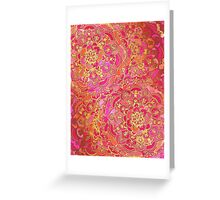 Hot Pink and Gold Baroque Floral Pattern Greeting Card