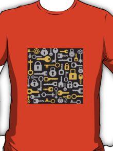 Keys and locks on a black T-Shirt
