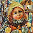 Girl with a sparrow by Monica Blatton