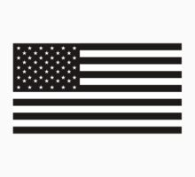 American Flag; STARS & STRIPES; USA, Black on white by TOM HILL - Designer