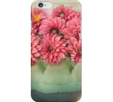 Beautiful Pink Dahlia's in a Green Vase iPhone Case/Skin