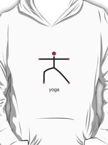 Stick figure of warrior 2 pose with yoga text. T-Shirt
