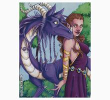 Lady and Dragon Fantasy Art Sticker by cybercat