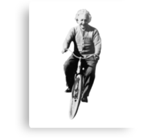 Albert Einstein on a Bike Metal Print