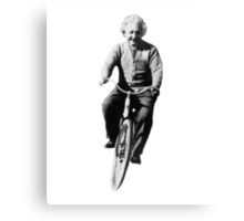 Albert Einstein on a Bike Canvas Print