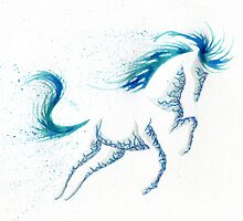 Minimal Abstract Blue Ocean Breeze Horse by anilatac