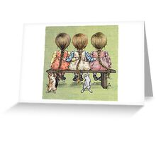 girls and kittens Greeting Card