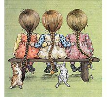 girls and kittens Photographic Print