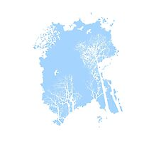 Forest Silhouette in Light Blue Photographic Print