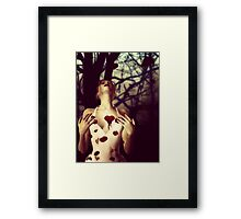 Girl with Bloody Heart Framed Print