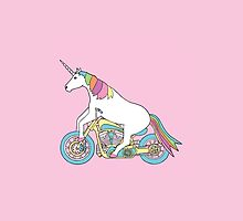 unicorn riding a motorbike by Imfrenk