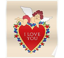 Loveli little angel and big red heart vintage design Poster
