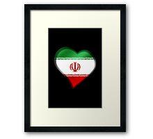 Iranian Flag - Iran - Heart Framed Print