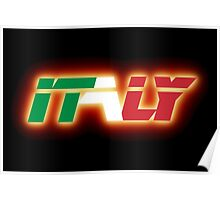 Italy - Flag Logo - Glowing Poster