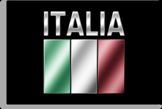 Italia - Italian Flag & Text - Metallic by graphix
