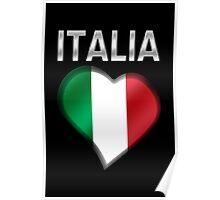Italia - Italian Flag Heart & Text - Metallic Poster