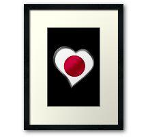 Japanese Flag - Japan - Heart Framed Print
