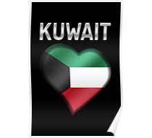 Kuwait - Kuwaiti Flag Heart & Text - Metallic Poster