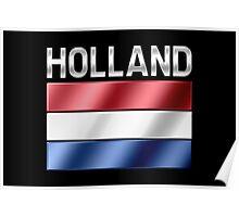 Holland - Dutch Flag & Text - Metallic Poster