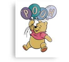 Winnie the Pooh with Balloons Metal Print