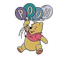 Winnie the Pooh with Balloons Photographic Print