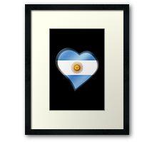 Argentine Flag - Argentina - Heart Framed Print