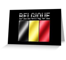 Belgique - Belgian Flag & Text - Metallic Greeting Card