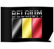 Belgium - Belgian Flag & Text - Metallic Poster