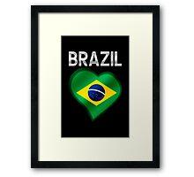 Brazil - Brazilian Flag Heart & Text - Metallic Framed Print