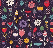 Abstract Colorful Spring Flower Pattern by sale