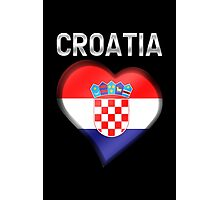 Croatia - Croatian Heart & Text - Metallic Photographic Print