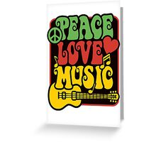 Peace, Love, Music in Rasta Colors Greeting Card