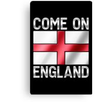 Come On England - English Flag & Text - Metallic Canvas Print