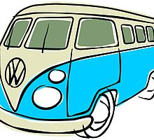 VW Type 2 bus blue by car2oonz