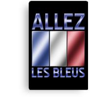 Allez Les Bleus - French Flag & Text - Metallic Canvas Print