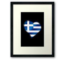 Greek Flag - Greece - Heart Framed Print