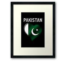 Pakistan - Pakistani Flag Heart & Text - Metallic Framed Print