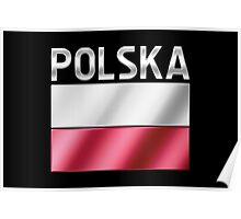 Polska - Polish Flag & Text - Metallic Poster