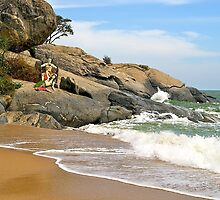 Sculptures, Beach Art, Thailand. by johnrf