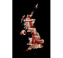 United Kingdom - British Bacon Map - Woven Strips Photographic Print