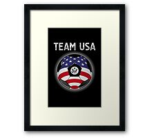 Team USA - American Flag - Football or Soccer Ball & Text Framed Print