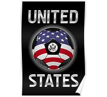 United States - American Flag - Football or Soccer Ball & Text Poster