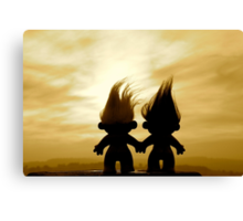 troll lovers in sepia Canvas Print