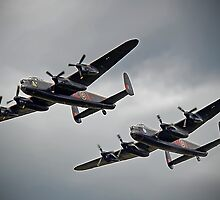 The 2 Lancasters - Tail Chase - Dunsfold 2014 by Colin J Williams Photography