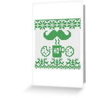 Santa's Stache Over Green Midnight Snack Knit Style Greeting Card