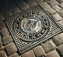 Decorative iron man-hole cover in old street, Stralsund, Mecklenburg Western Pomerania, Germany. by David A. L. Davies